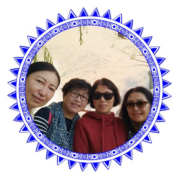 Smiling women in blue frame