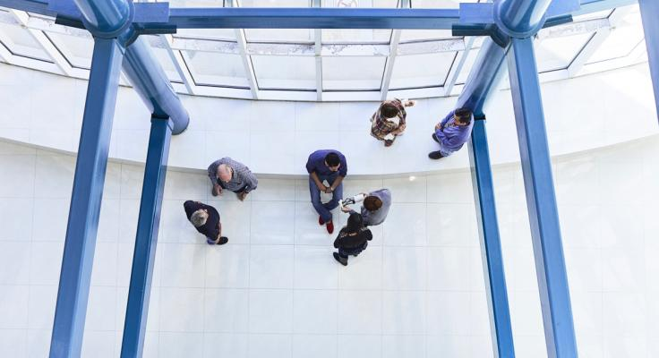 view of business professionals from above