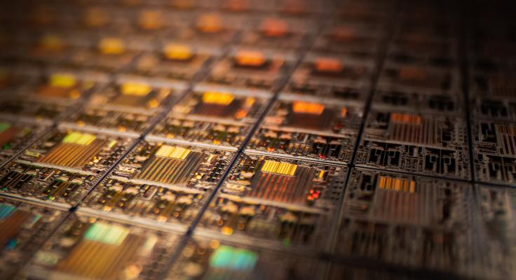 Close-up on circuit board