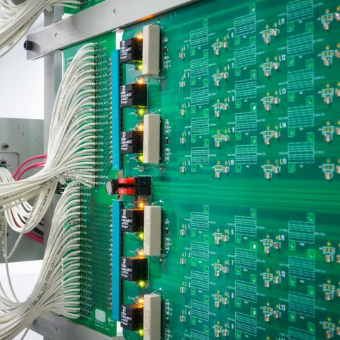 closeup of vehicle electronic circuit board being made.